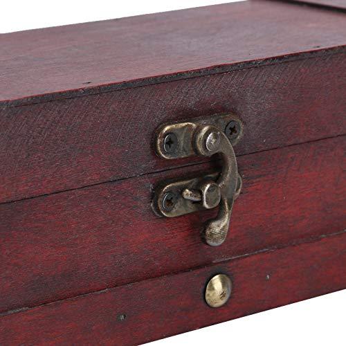 Caja de madera de imitación Caja de madera para joyería resistente al desgaste para guardar joyas(6702 rojo, azul)