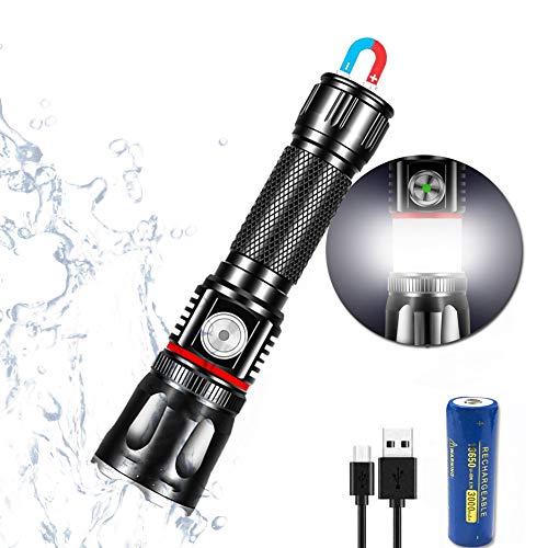 Linterna LED pequeña recargable por USB (con batería 18650 de 3000 mAh),...
