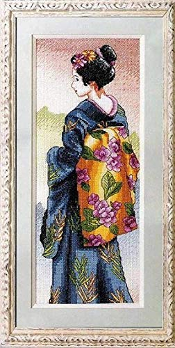 YOFUHOME cross stitch kit beginner Adults- Geisha -DIY Craft Embroidery Needlework-Sewing Needlepoint-Cotton thread needles gift for Home Decor (11CT Pre Printed Canvas)