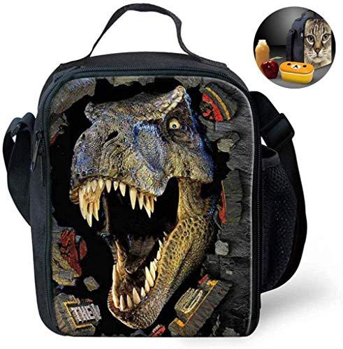 LUHUIYUAN Coolest Dinosaurio 3D-Drucken Kinder-Mittagessen-Beutel, Kinder Multi Convertible Resuable Cross Insulated Thermal Lunchbox Taschen stilvolle bewegliche Kühlbox Behälter-Kasten,B