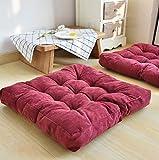 Seat cushion Almohada De Piso Cuadrada Sólida,Tufted Espesar Pana Almohadillas De Silla para El Balcón De Meditación De Yoga De Oficina Cojín De Suelo De Tatami-Vino Rojo 55x55cm(22x22inch)