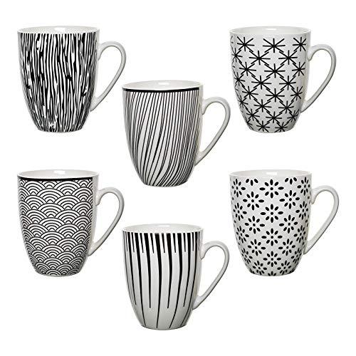 6er Set XXL Kaffeebecher Tasse NIILO Landhaus schwarz / weiß Keramik 400ml Pott für Ihr liebstes Heißgetränk für Kaffee, Cappuccino und Latte Macchiato