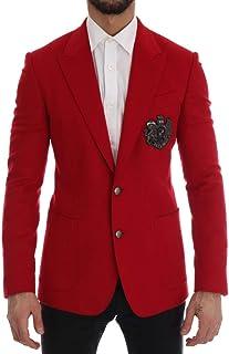 Dolce & Gabbana Red Cashmere Slim Fit Blazer