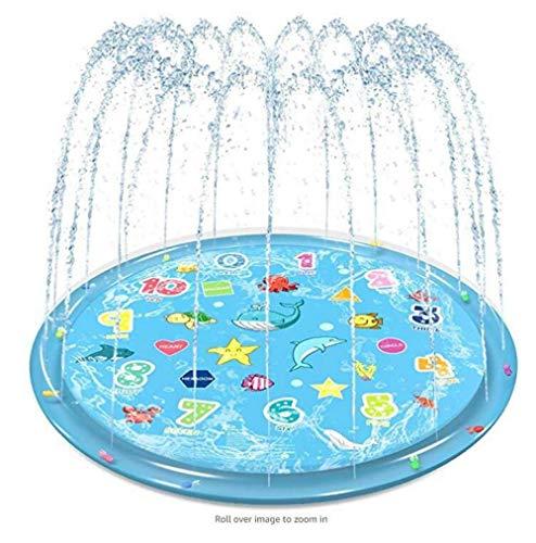 Aerlan Agua Piscina de Chapoteo para Niños Pequeños,Almohadilla De Rociado De Agua Inflable para Niños,Aspersor Estera de Hierba Estera Piscina Infantil Piscina de aspersores-Azul 1M