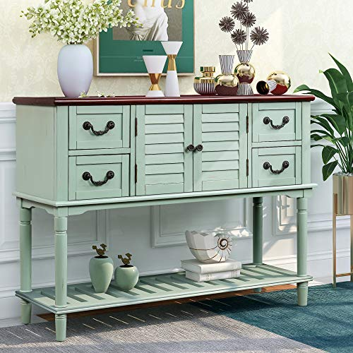 Console Table Sideboard for Entryway Sofa Table with Shutter Doors and 4 Storage Drawers for Living Room Aisle Bathroom Farmhouse Hallway, Retro Entryway Table Easy Assemble (Antique Blue)