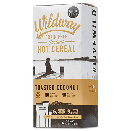 Wildway Vegan Hot Cereal | Toasted Coconut | Certified Gluten-Free, Grain-Free, Keto, Paleo, Non-GMO, No Artificial Sweetener - 2pk