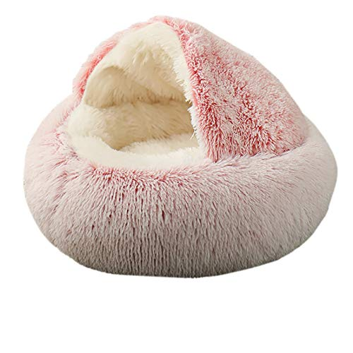 Rainlin Pet Bed- Round Soft Plush Burrowing Cave Hooded Cat Bed Donut for Dogs & Cats, Faux Fur Cuddler Round Comfortable Self Warming Indoor Sleeping Bed Pink (19.7'x19.7')