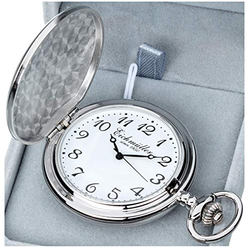 Eichmüller Reloj de bolsillo de cuarzo Savonnette con mosquetón, cadena y caja