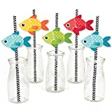 Big Dot of Happiness Let's Go Fishing - Paper Straw Decor - Fish Themed Birthday Party or Baby Shower Striped Decorative Straws - Set of 24