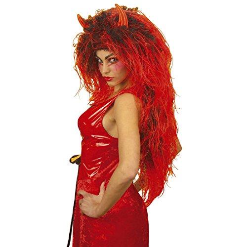 Amakando Langhaarperücke Damen Extra Lange Teufelin Perücke rot-schwarz Damenperücke Teufel Teufelperücke mit Teufelshörner Halloweenperücke Kostüm Zubehör Teufelsperücke Hölle