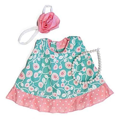 Rubens Barn Kleidung Party Collection - Little Ida / 1 x pink gemustertes Kleid + Schleife für´s Haar