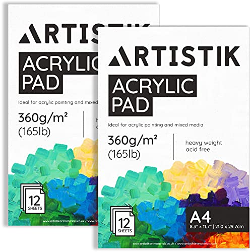 A4 Acrylic Pads - 8.3 x 11.7 Inch (246lb/400gsm) 24 Pages / 12 Sheets Per Book Glue Bounded with Easy to Remove Art Paper Pages, Acid-Free, Artist Paint Pads for Acrylic Painting, (Pack of 2)