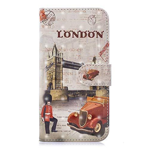 Carols Cover per Huawei P10 Lite,Flip Caso in PU Pelle Premium Portafoglio Custodia per Huawei P10 Lite (5,2 Zoll) - London