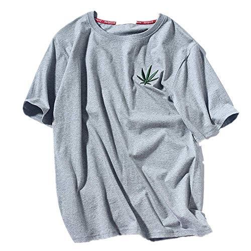 NOBRAND Verano Nuevo Guochao Chino Hoja de Cáñamo Bordado Camiseta de Algodón Japonés Original Sufeng Manga Corta Camiseta Hombre