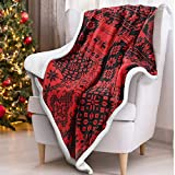 Sherpa Fleece Throw Blanket, Super Soft Warm Cozy Reversible Fuzzy Holiday Blanket 50' x 60' for Couch Sofa Bed, Home Decor, Lightweight, Snowflake Reindeers Patterns