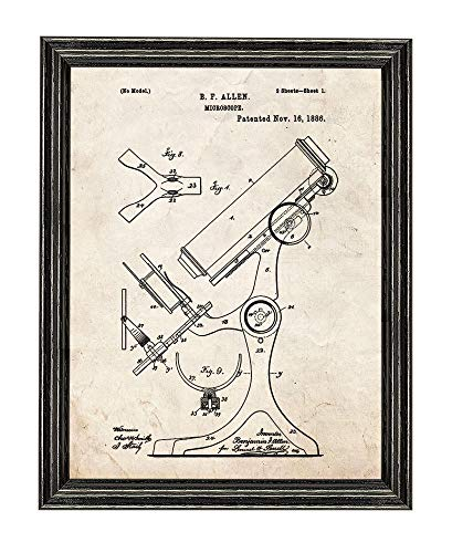 Microscope Patent Art Old Look Print in a Black Wood Frame (8.5' x 11') M12111