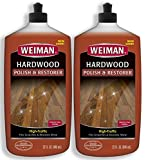 Weiman Wood Floor Polish and Restorer 32 Ounce (2 Pack) - High-Traffic Hardwood Floor, Natural Shine, Removes Scratches, Leaves Protective Layer - Packaging May Vary