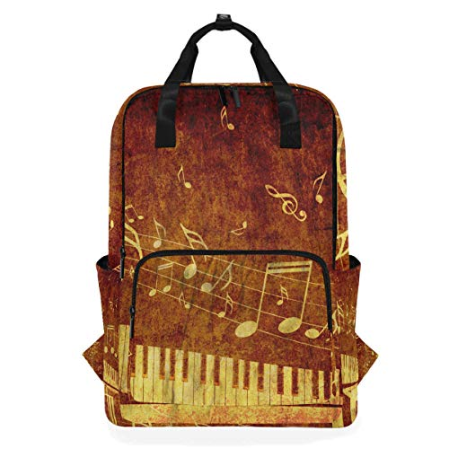 ALARGE - Mochila para ordenador portátil, diseño de piano y notas musicales,...