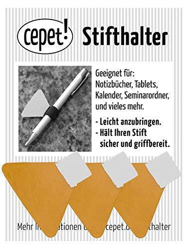 Stiftschlaufe selbstklebend - weiß für dünne Stifte - Pen Loop, Stifthalter für Notizbuch, Kalender, Tablet, Ordner, Seminarunterlagen (weiß, small - bis ca. 9mm Ø)