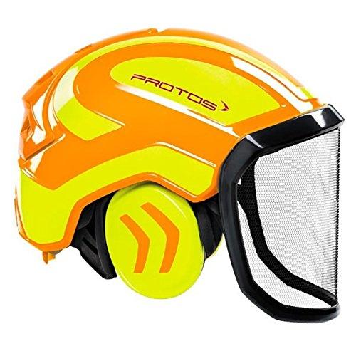 Protos Casque de sécurité intégral Forest avec protection auditive intégrée - Visière fine - Orange/jaune