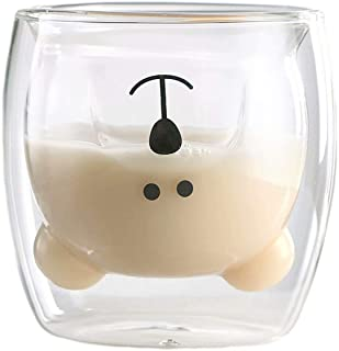 Sweet Coffee Cups Tea Milk Cute Bear Cat Panda Espresso Cups Mugs Double-Walled Insulated Glasses Birthday Gifts(White Bear)