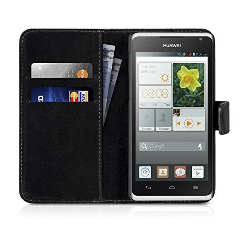 Carlsson Leder Case Hülle für Huawei Ascend Y530 - Wallet Flip Tasche aus Leder mit Standfunktion in Schwarz - 6