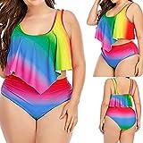 Conjunto de Bikinis Nuevo 2021 Talla grande Mujer Trajes de Baño dos piezas Volante Ropa de Playa arcoíris Impresión Sexy Push up Bikini spa Cintura alta Tankinis mujer Beachwear Bañador Mujer