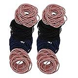 SIPLIV 200 pezzi cravatte per capelli multicolor per neonate senza piega fasce per capelli elastici sfusi portacravatte per capelli spessi e ricci, 3 colori