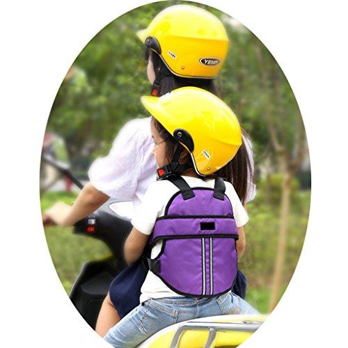 Vine Cintura di sicurezza bambini di sicurezza per moto/auto elettrica/Bicicletta regolabile(Viola)