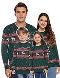 Abollria Suéteres Navideños Jersey de Navidad Cuello Redondo Pullover de Punto de Renos Invierno para Mujer Hombre Nina Niño Familia