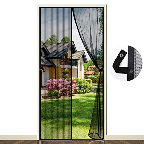 Cortina Mosquitera Magnética para Puertas, 90 x 210 cm Cortinas Mosquiteras para Puertas, Cortina de Protección contra Insectos para la Puerta del Balcón de la Sala de Estar (Negro)