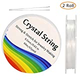 Tailiand 0.5mm Crystal Elastic String - 2 Roll Clear White Stretchy Bead Cord String & 2 Root Threading Needles for Bracelet,Beading, Jewelry Making(60m/Roll) (Clear)