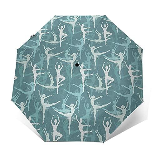 Paraguas Plegable Automático Impermeable Bailarina, Mujer, Cuerpo, actuación, Paraguas De Viaje Compacto Prueba De Viento, Folding Umbrella, Dosel Reforzado, Mango Ergonómico