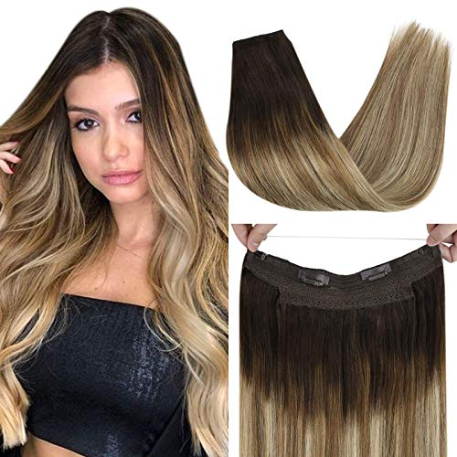 VeSunny 18 Inch Human Hair One Piece Fish Line Halo Human Hair in Darkest Brown Ombre Medium Brown Balayage Light Blonde Hair Extensions Secret Wire Hair Extensions 80g Per Pack