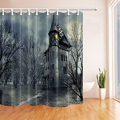 AQYYSH Gothic Castle Fledermäuse im Sturm Halloween Duschvorhänge für Badezimmer Polyester Stoff Wasserdicht Bad Vorhang Duschvorhang Haken enthalten 71X71in