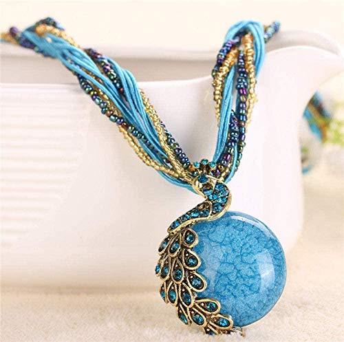 NC188 Collares Pendientes de Piedra para Mujer Boho Pavo Real Diamante de imitación Envuelto Cuentas de Piedra Natural Collares Pendientes Azules con Cadena de Cuerda Adornos navideños Regalo para
