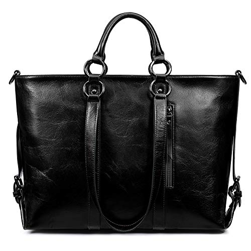 S-ZONE Women Genuine Leather Work Tote Shoulder Messenger Bag Fit in 14'' Laptop