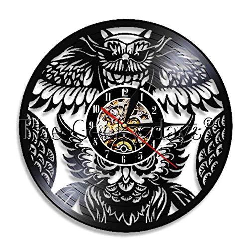 Wanduhr Aus Vinyl Nachteule Vögel Vintage Schallplatte Wanduhr Handmade EIN Vogel von Minerva Tiere Hause Wandkunst Raum 3D Quarz Dekor Uhr 30 cm Io020