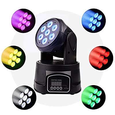 BETOPPER Moving Head Stage Light 7x8W RGBW 4 in 1 Moving Heads DJ Lighting, DMX512 Mini LED Moving Head Light for Disco Wedding Event Show (LM70S-UK)