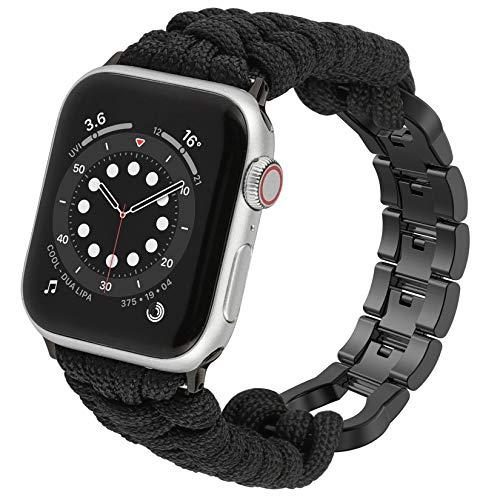 Wearlizer Cinturino per orologio Paracord compatibile con Apple Watch 42 mm 44 mm per iWatch Serie 6 5 4 3 2 1 SE, da uomo, intrecciato a mano, con fibbia in acciaio inox, nero