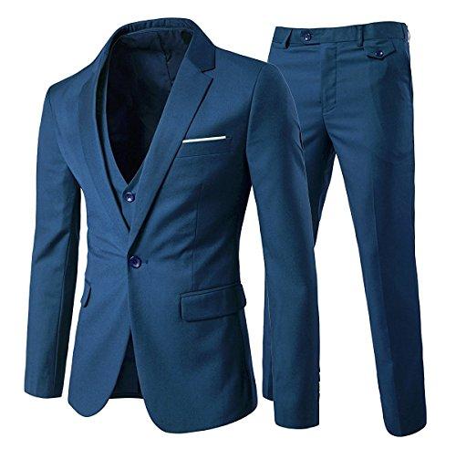 Cloudstyle Traje Suit Hombre 3 Piezas Chaqueta Chaleco pantalón Traje al Estilo Occidental, Azul,L