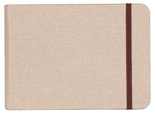 Clairefontaine 96101C - Un carnet de voyage Goldline 64 pages de papier dessin blanc 10,5x14,8 cm 180g, couverture toilée et fermeture élastique