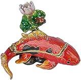 YUJH Estatuas para jardín Escultura Pez Colgante Caja Cajas de joyería de Cristal con Gemas con bisagras Caja de joyería de Recuerdo Caja de joyería Anillo de decoración