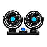 AARVIB Car Fan 12V 360 Degree Rotatable Dual Head 2 Speed Quiet Strong Dashboard Auto Cooling Air...