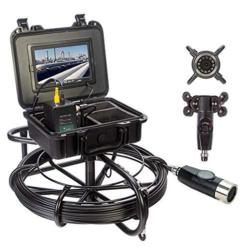 HBHYQ Endoscopio de tubería de 7 Pulgadas, cámara de tubería, Detector de inspección Interno de tubería de Doble Lente, inspección de Carretera submarina Cámara Impermeable,100M