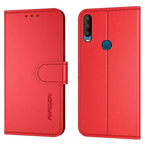 FMPCUON Handyhülle Kompatibel mit Alcatel 3X 2019,Premium Leder Flip Schutzhülle Tasche Hülle Brieftasche Etui Hülle für Alcatel 3X 2019,Rot