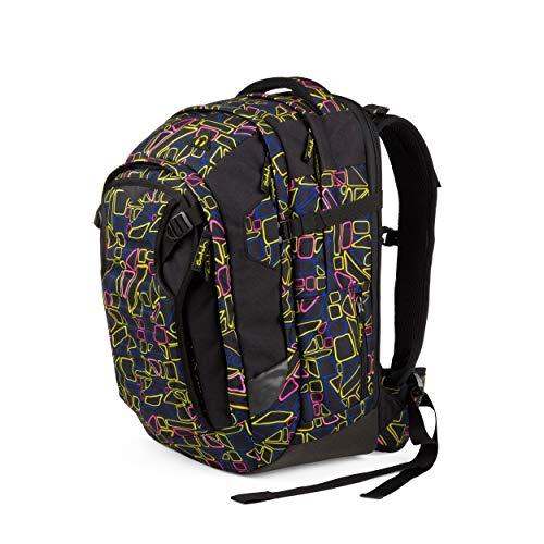 Satch match Schulrucksack - ergonomisch, erweiterbar auf 35 Liter, extra Fronttasche - Disco Frisco - Black