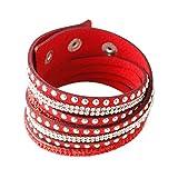 YAZILIND Leder Wickelarmbänder Strass und Muti-Color Perlen Stulpearmband, Charm Multilayer Armband Damen Schmuck Rot