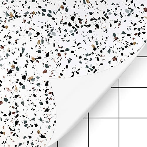KINLO Fliesenaufkleber 61 x 500cm 2 Rollen Küchenfolie Tapete Tischfolie Wandaufkleber Klebefolie Wasserdicht Möbelfolie Fliesen für Küche Bad Möbel Fliesenfolie Dekofolie Typ-C