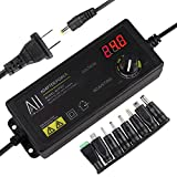 AlloverPower 3V - 24V 1.5A 36W Adjustable DC Power Supply Kit Adapter Speed Control Volt Display/ON...